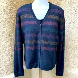 New vintage black sparkly wool cardigan and tank